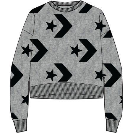 e5d68433c8 MIKINA CONVERSE AOP Star Chevron Cropped - šedá