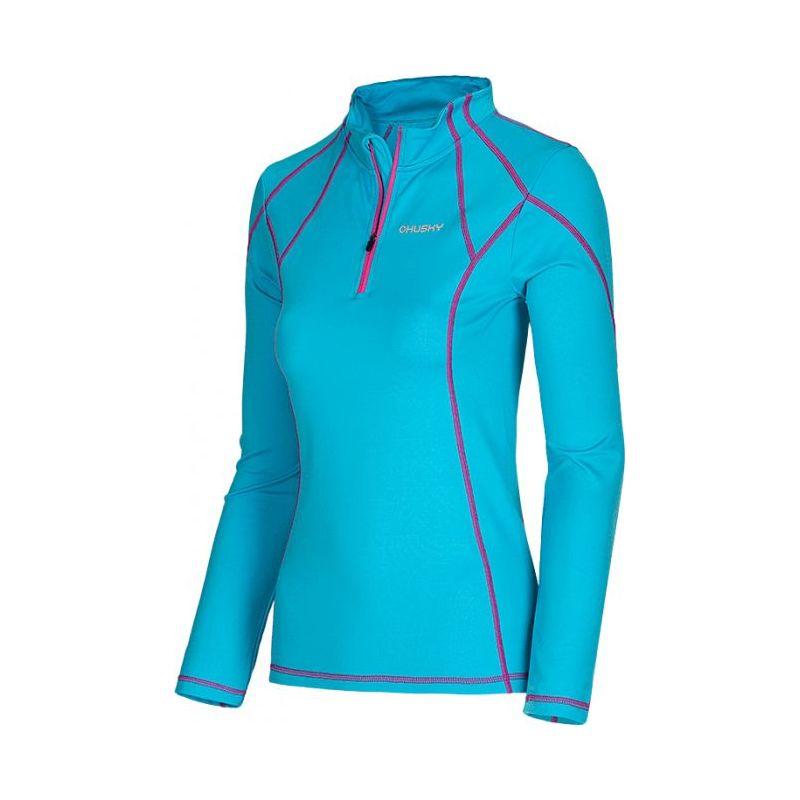 Husky dámské termo triko - podzim, zima T-EB Long sleeve zip L modrá, L - tyrkysová (husky) - S