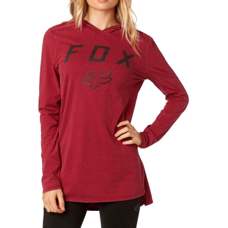 Fox axiom l/s hoodie - červená - M