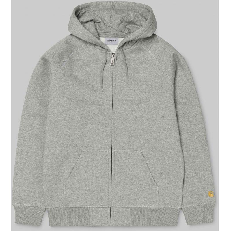 Carhartt hooded chase hd zip - šedá - M